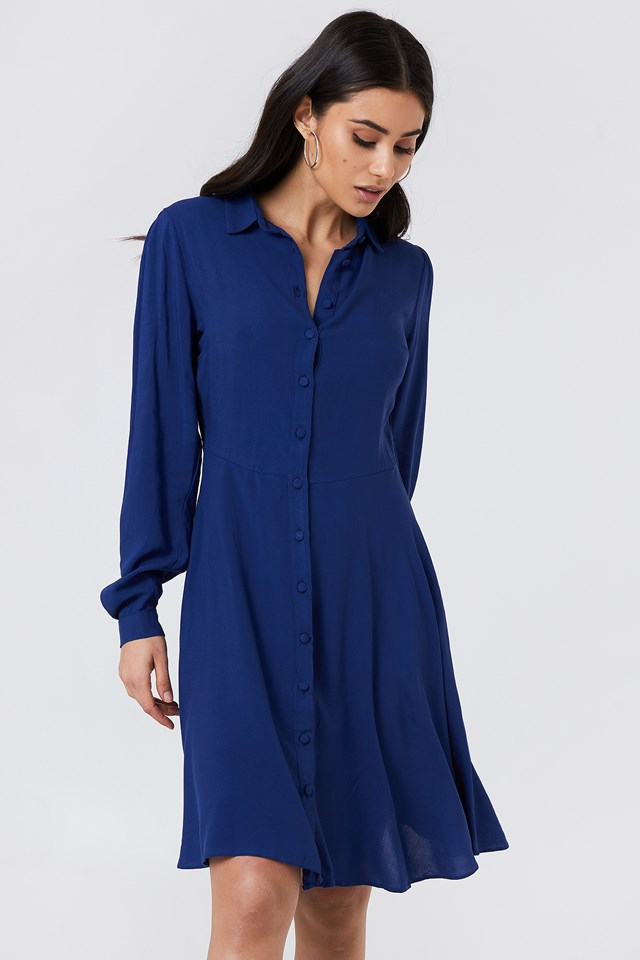 Long Sleeve Midi Dress Indigo