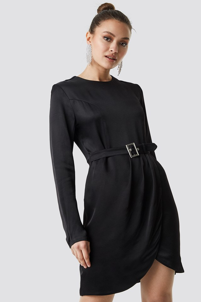 Long Sleeve Midi Dress Black