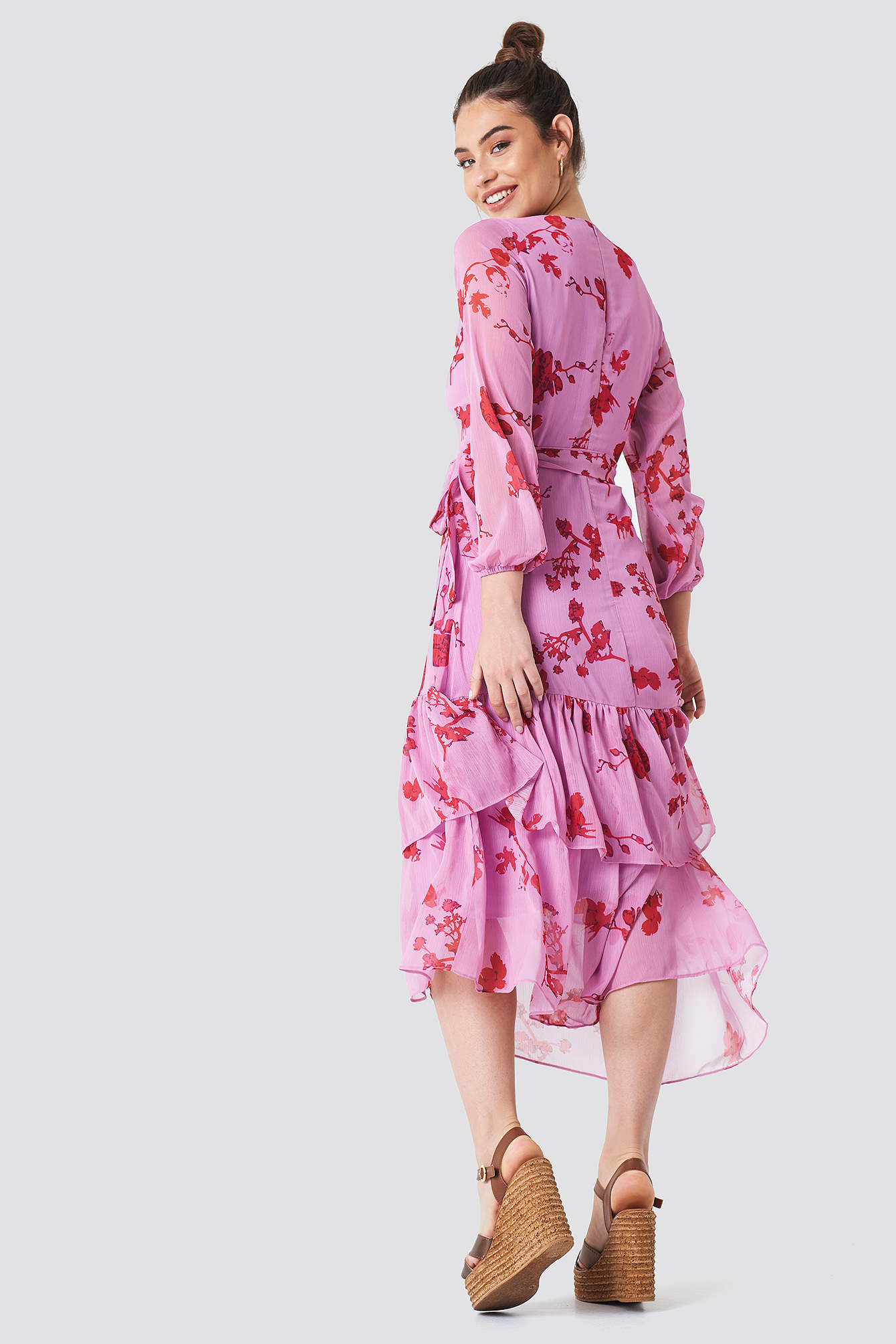 Long Sleeve Printed Ruffle Dress NA-KD.COM