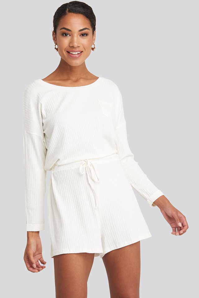 Long Sleeve Ribbed Playsuit White