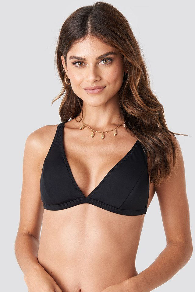 Long Triangle Bikini Top Black