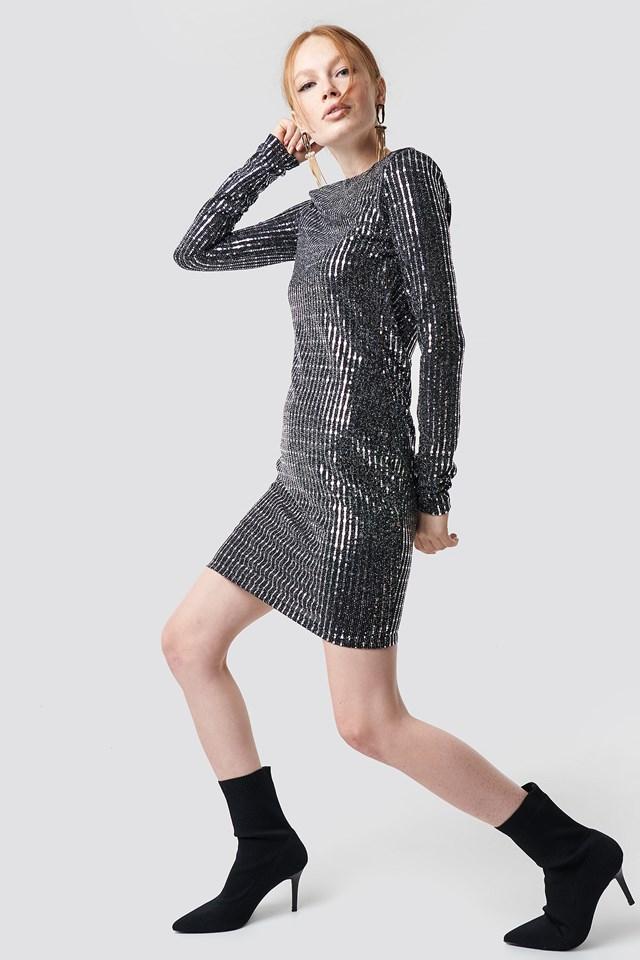 Longsleeve Shiny Mini Dress Gray