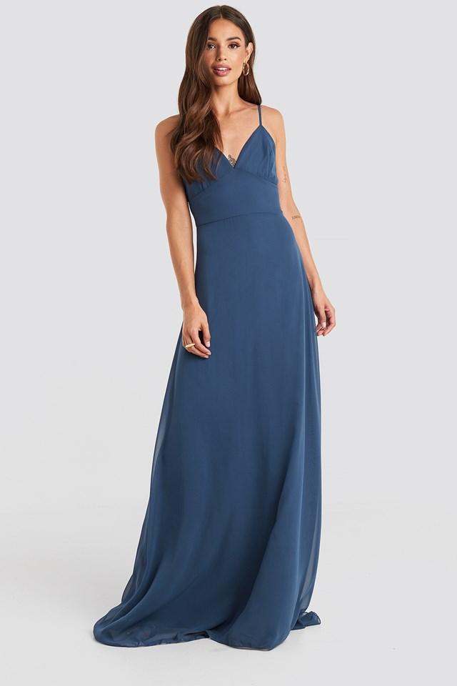 Low-Cut Evening Dress Indigo