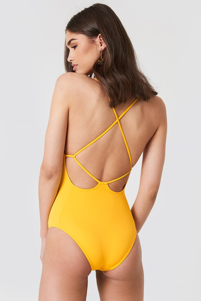 Low Back Cross Detailed Swimsuit Apricot