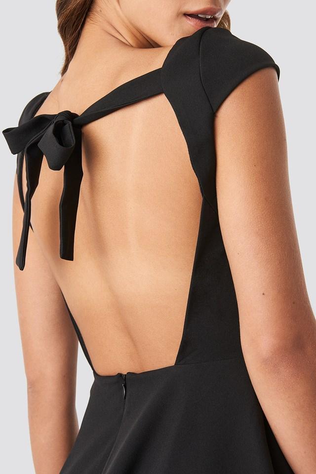 Low Back Detailed Mini Dress Black