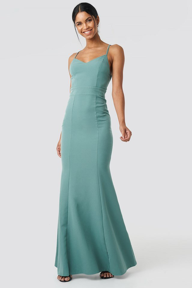 Low Cut Evening Dress Mint