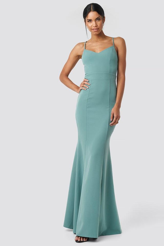 Low Cut Evening Dress Mint