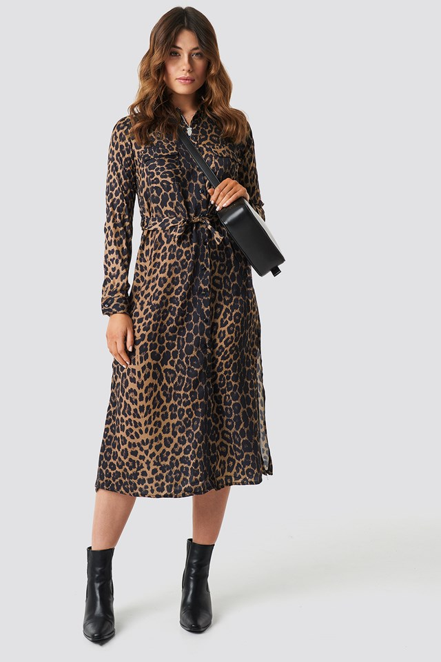 Maya Leopard Patterned Dress Brown