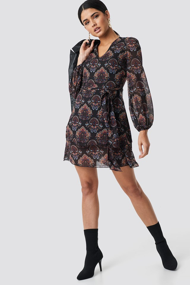 Maya Printed Mini Dress Black