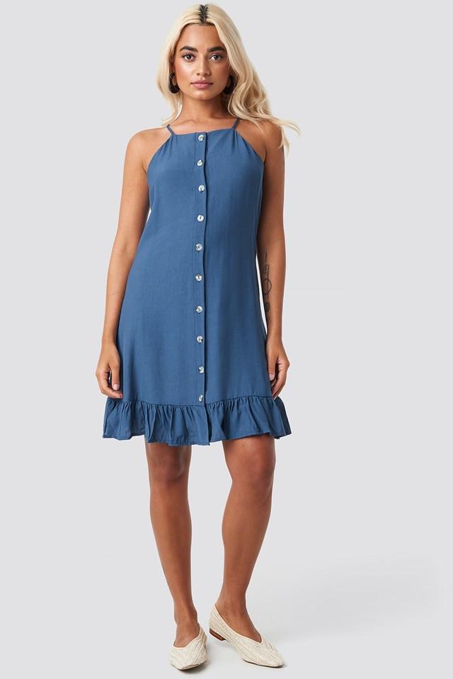 Meg Button Detail Mini Dress Blue