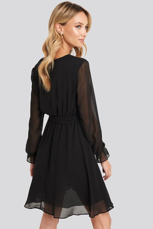 Mesh Contrast Mini Dress Black