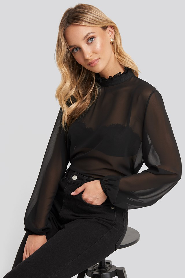 Mesh Ruffle Detail Blouse Black