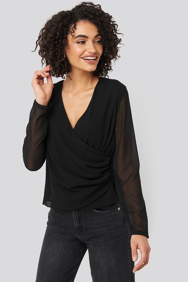 Mesh Sleeve Detailed Blouse Black