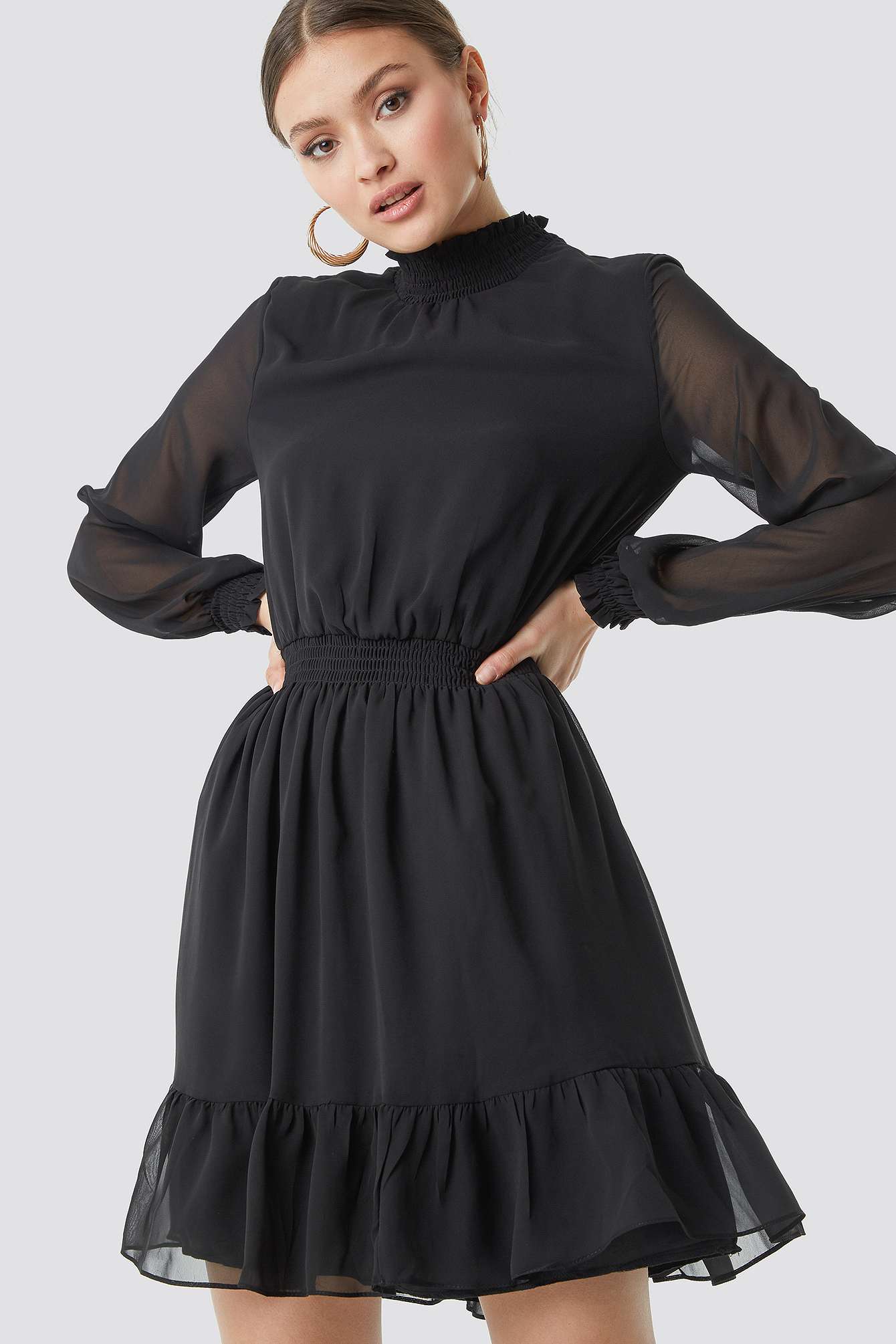 Mesh Sleeve Midi Dress NA-KD.COM
