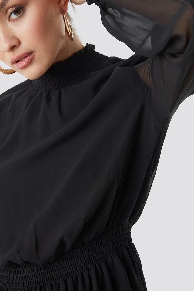 Mesh Sleeve Midi Dress Black