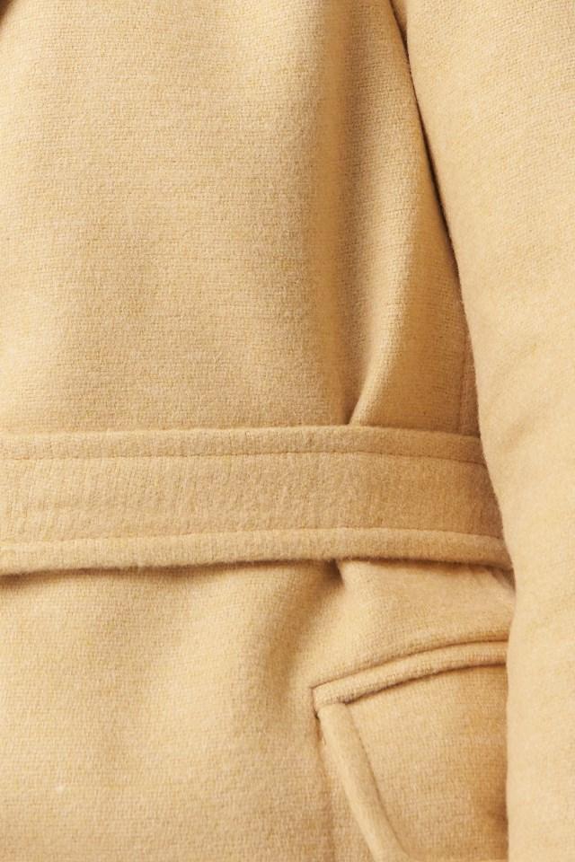 Metal Buckle Arched Woolen Coat Beige