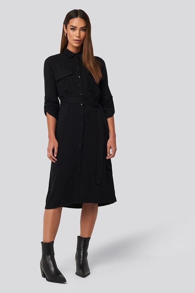Midi Belted Shirt Dress Black
