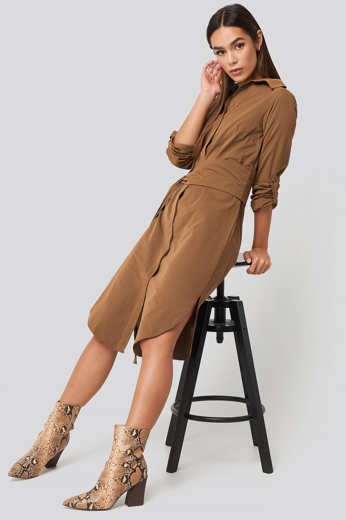 trendyol -  Midi Belted Shirt Dress - Brown