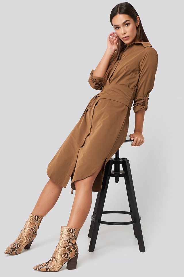 Midi Belted Shirt Dress Cinnamon
