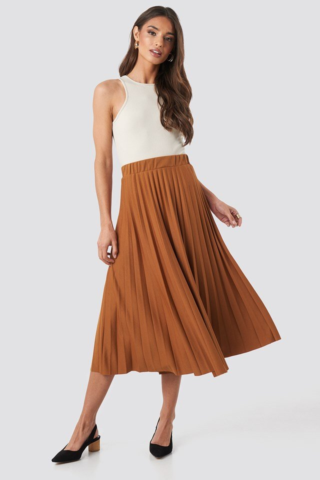 Midi Pleated Skirt Brown