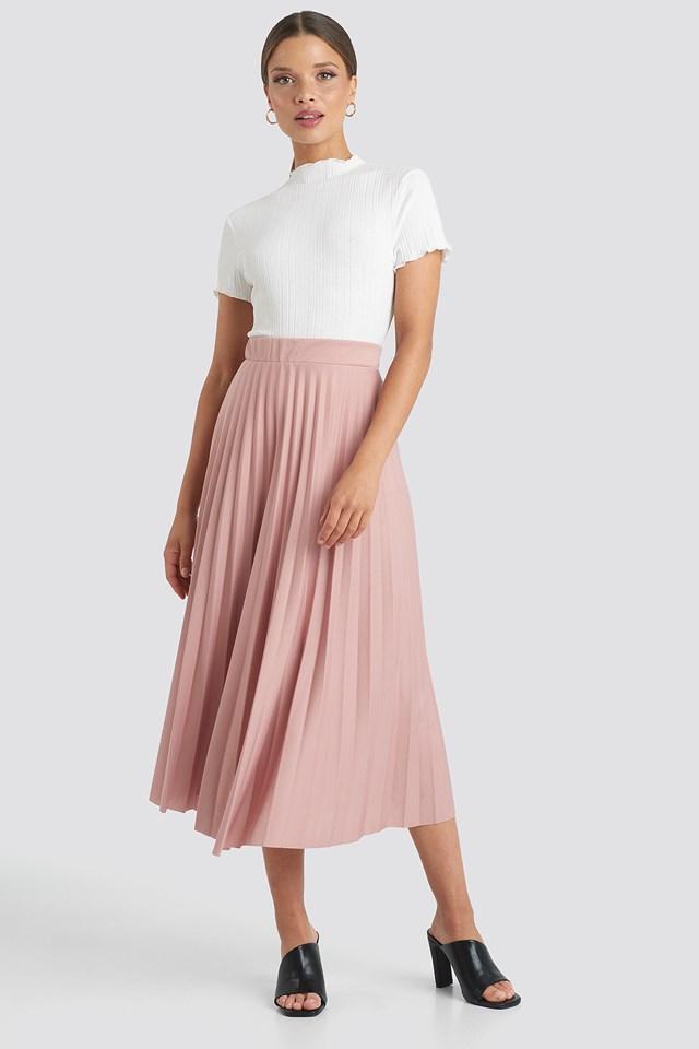 Midi Pleated Skirt Powder Pink