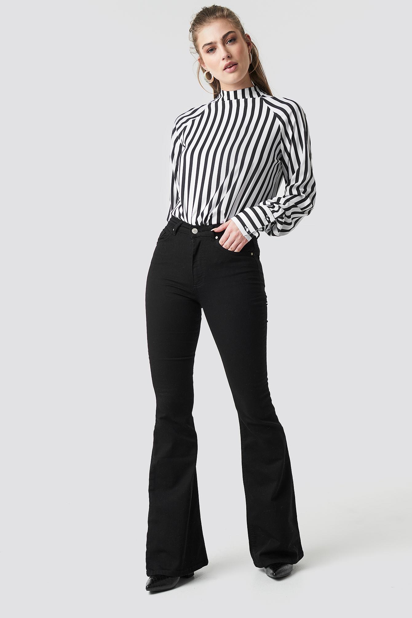 trendyol -  Milla High Waist Flared Jeans - Black