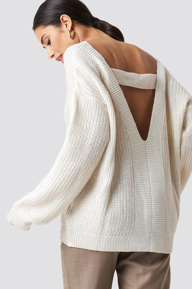 Milla Low-Cut Back Pullover Ecru
