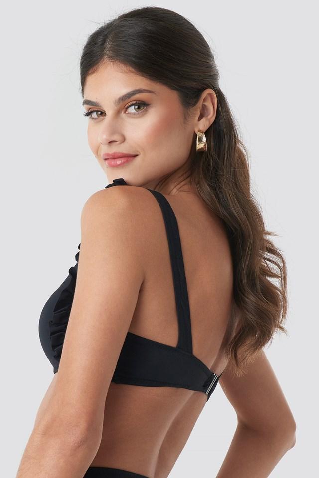Milla Ruffle Detail Bikini Top Black