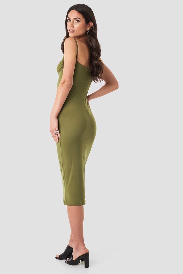Milla Thin Strap Midi Dress Khaki