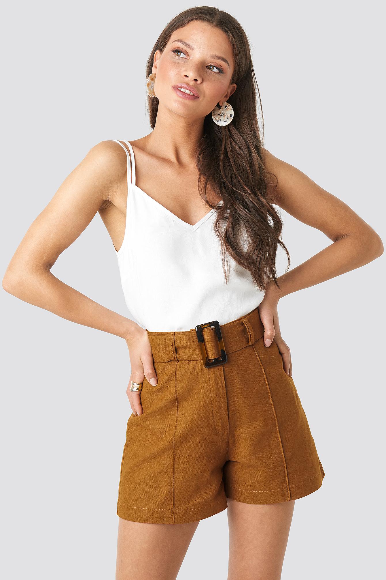 Trendyol Milla Belt Shorts - Brown