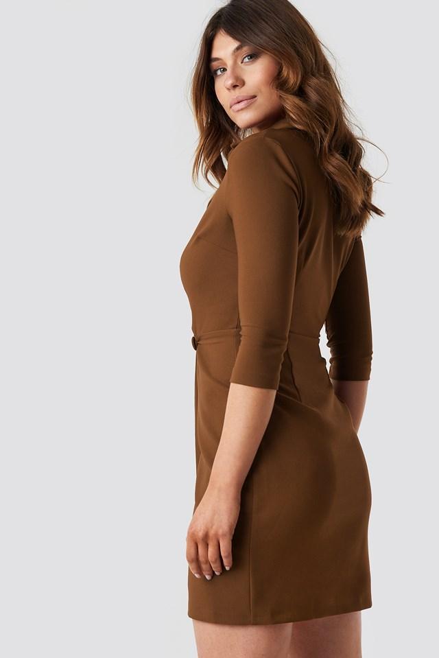 Milla Button Detailed Dress Brown