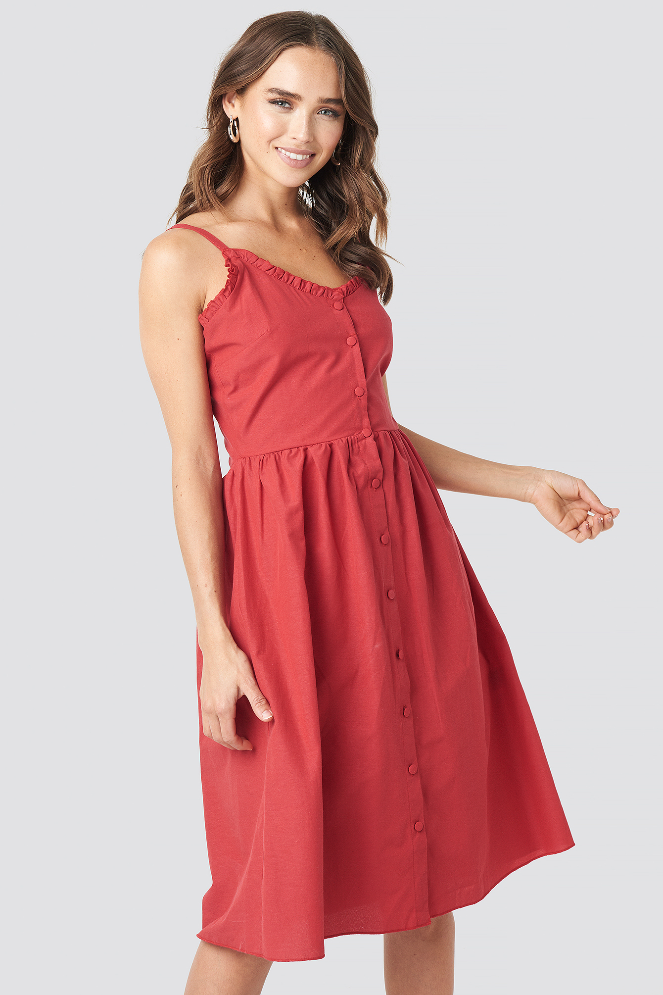 trendyol -  Milla Button Detailed Midi Dress - Red