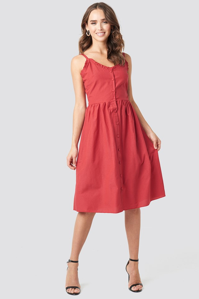 Milla Button Detailed Midi Dress Red