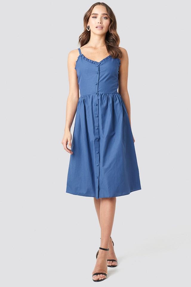 Milla Button Detailed Midi Dress Indigo