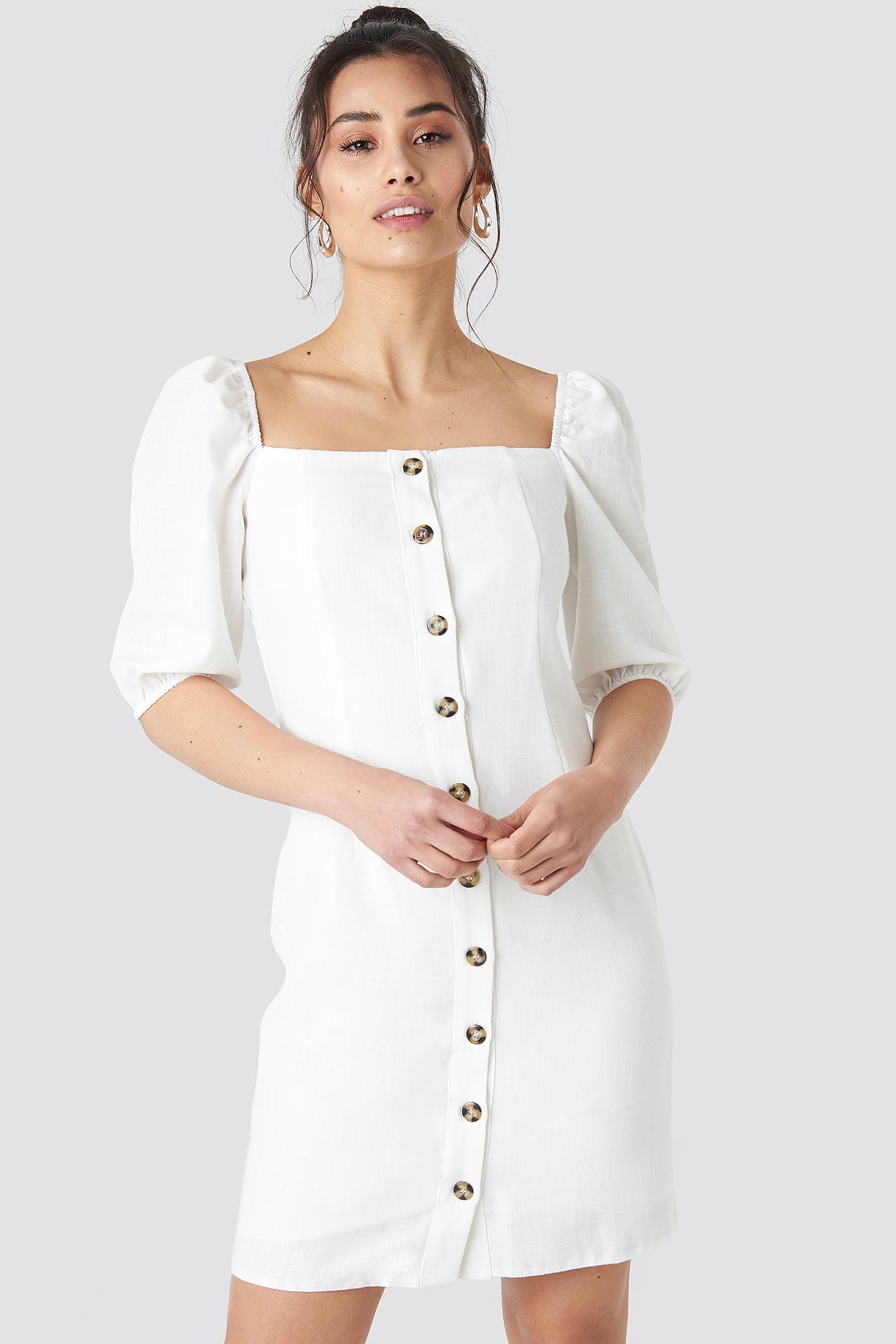 trendyol -  Milla Button Detailed Mini Dress - White