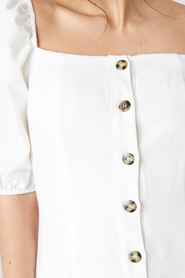 Milla Button Detailed Mini Dress Ecru