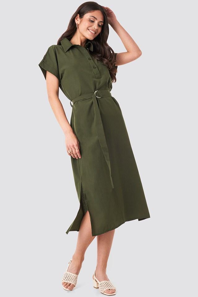 Milla Button Midi Dress Khaki
