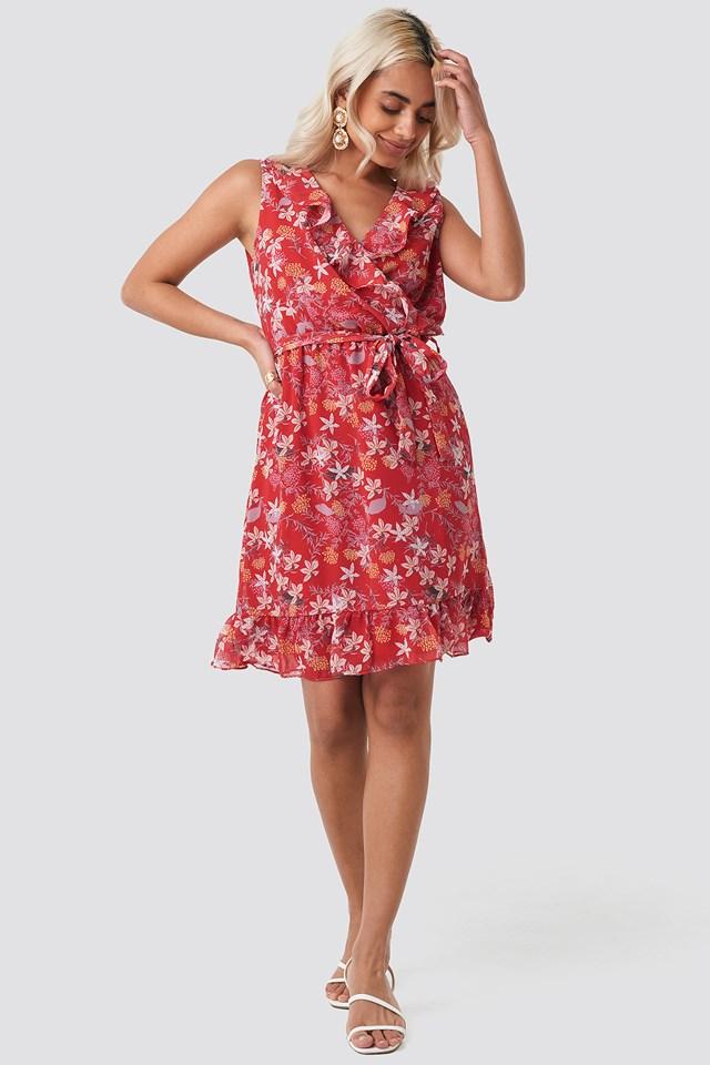 Milla Flower Mini Dress Red