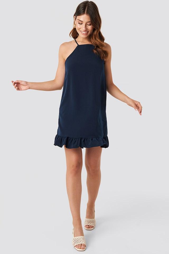 Milla Frill Hem Mini Dress Navy