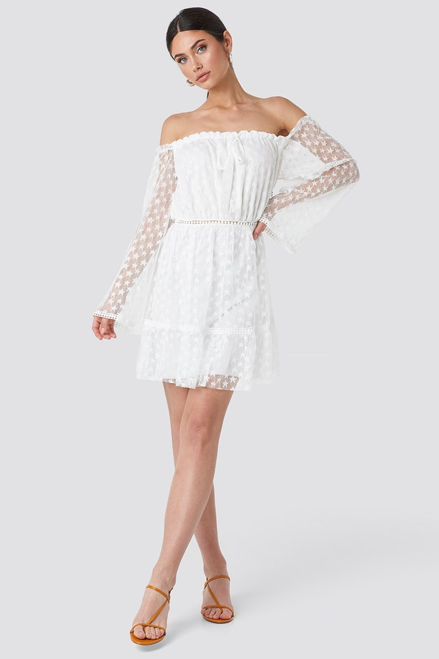 Milla Lace Detailed Mini Dress Ecru