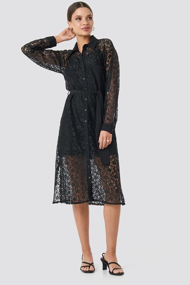 Milla Lace Midi Dress Black
