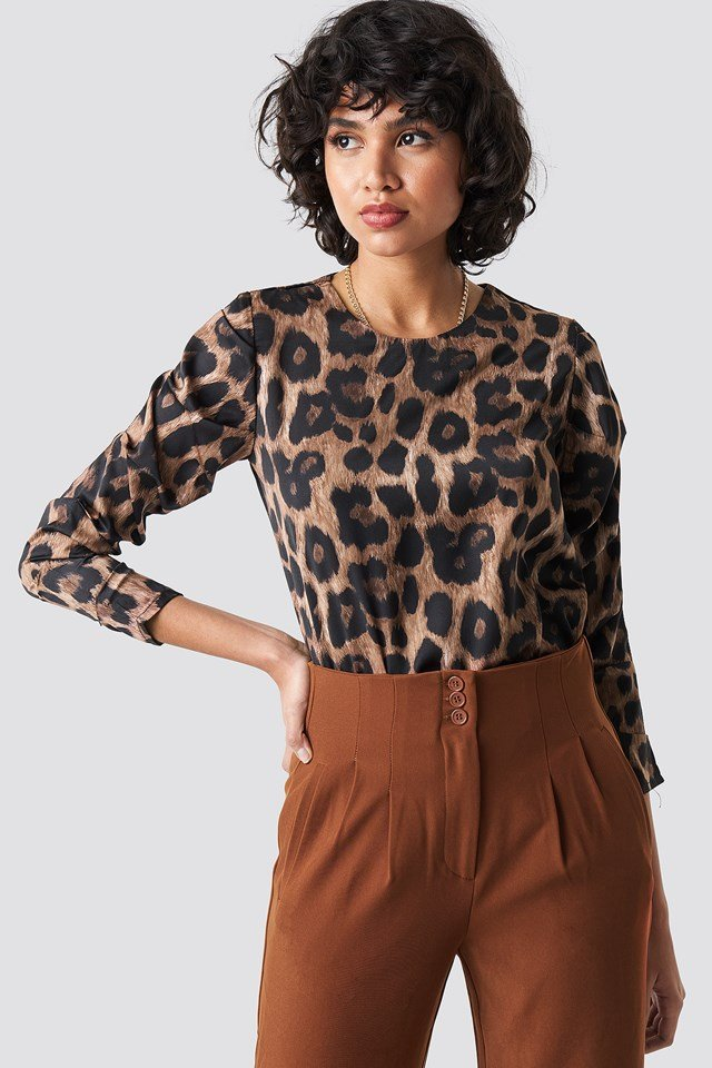 Milla Patterned Blouse Brown