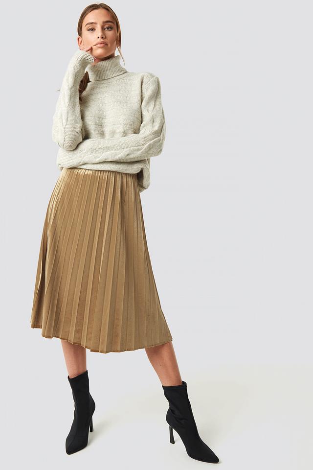 Milla Pleated Midi Skirt Camel