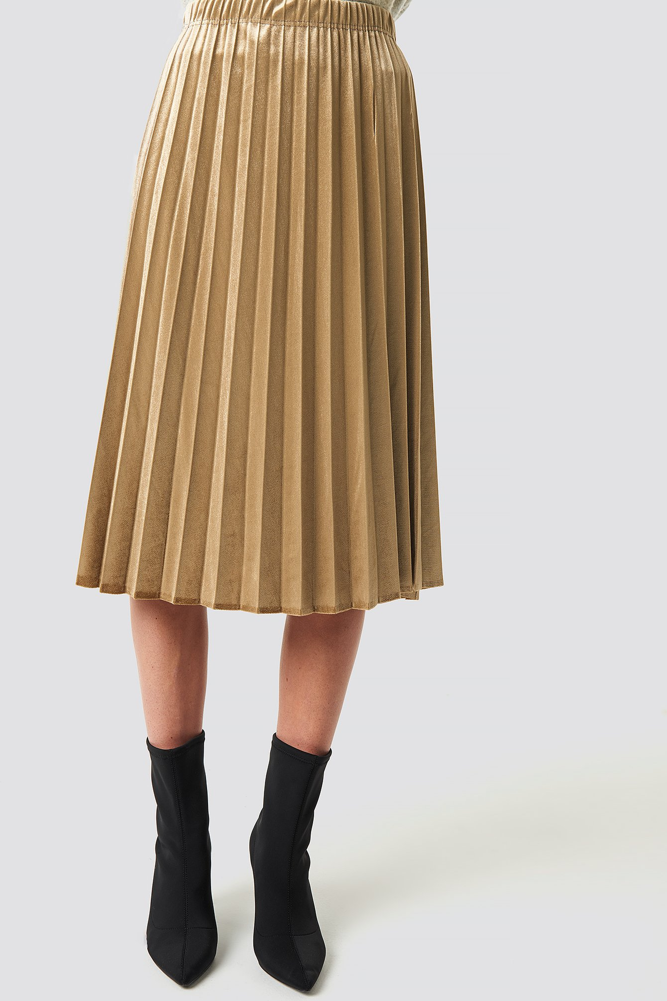Camel Milla Pleated Midi Skirt