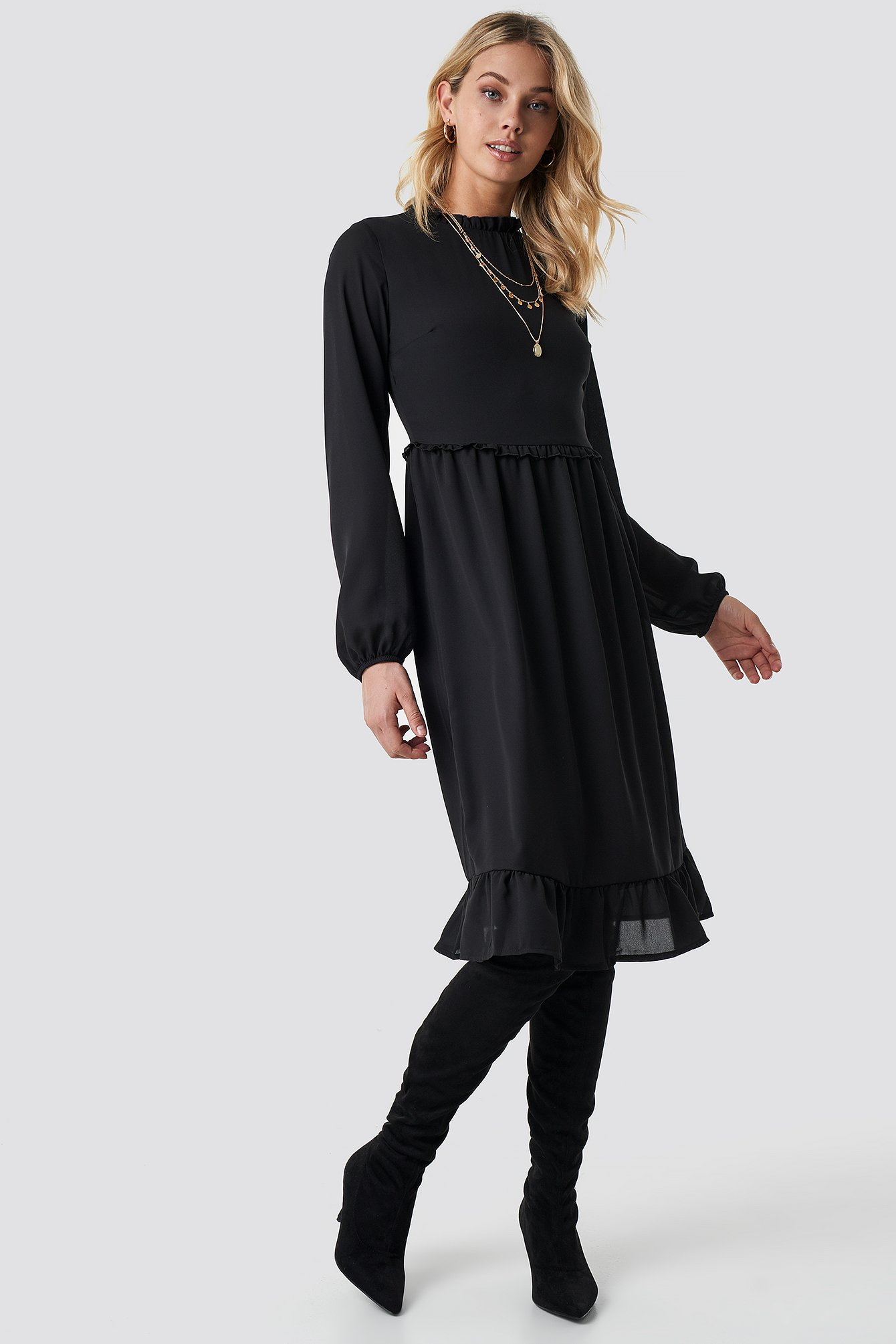 Milla Ruffle Detailed Midi Dress NA-KD.COM