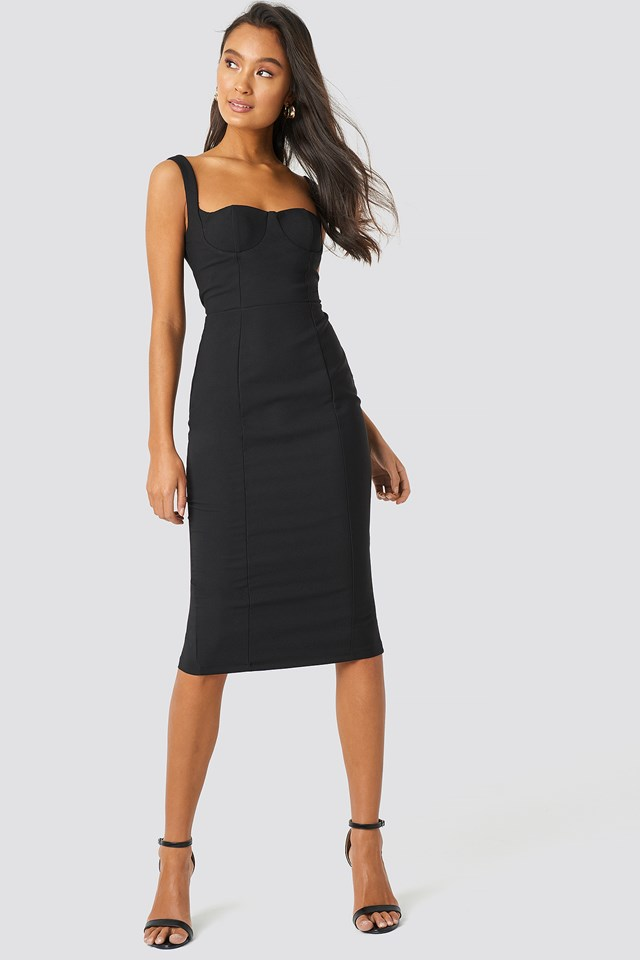 Milla Shoulder Straps Midi Dress Black