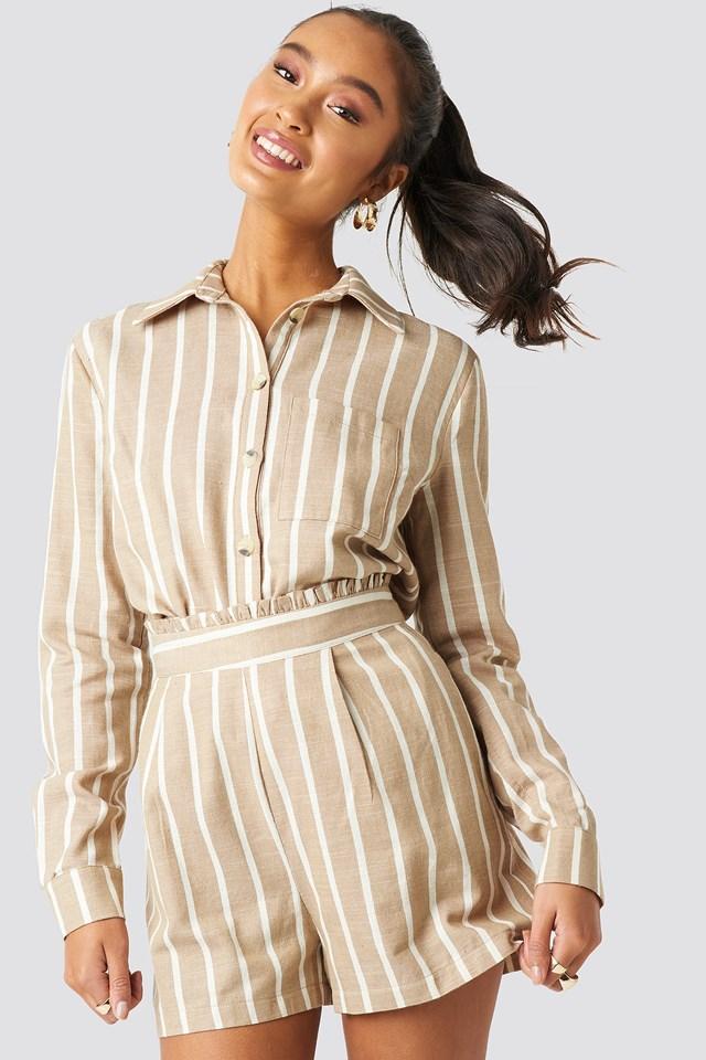 Milla Striped Shirt Beige