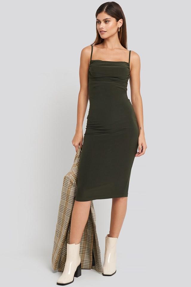 Milla Thin Strap Midi Dress Green