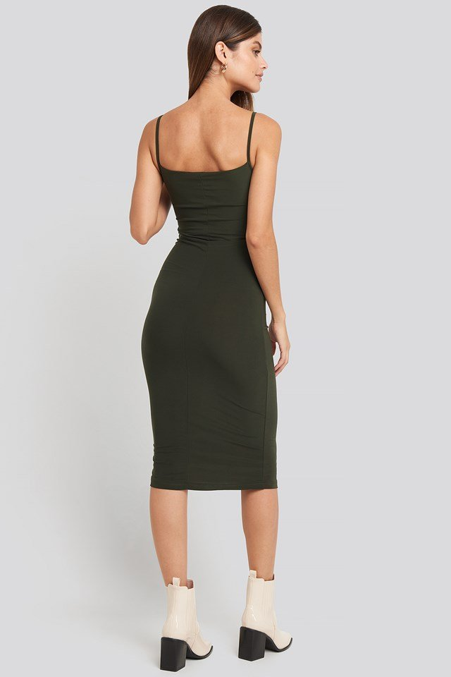 Milla Thin Strap Midi Dress Green