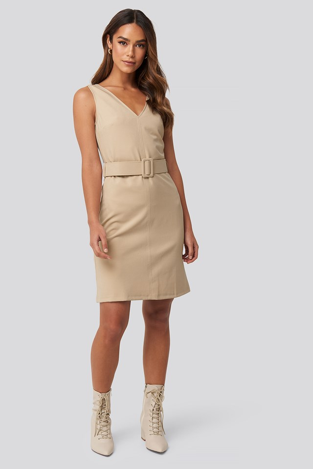 Milla Waist Belt Mini Dress Beige